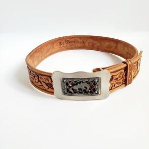 Ring & Brewer Leather Floral Embossed Western Belt
